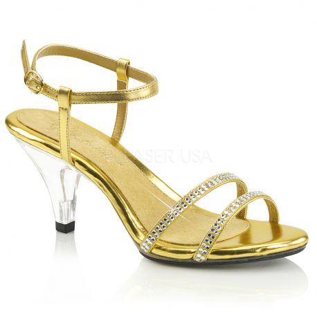 original les mieux notés gros remise Sandales dorées à brides petit talon grande taille