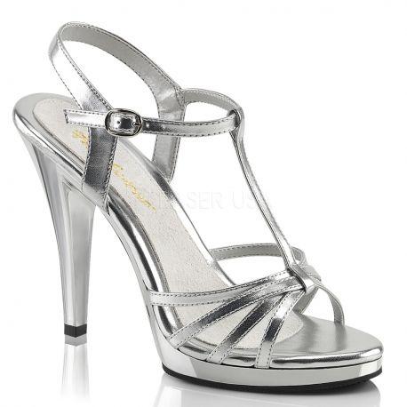 Chaussures nu-pieds à brides argent vernis