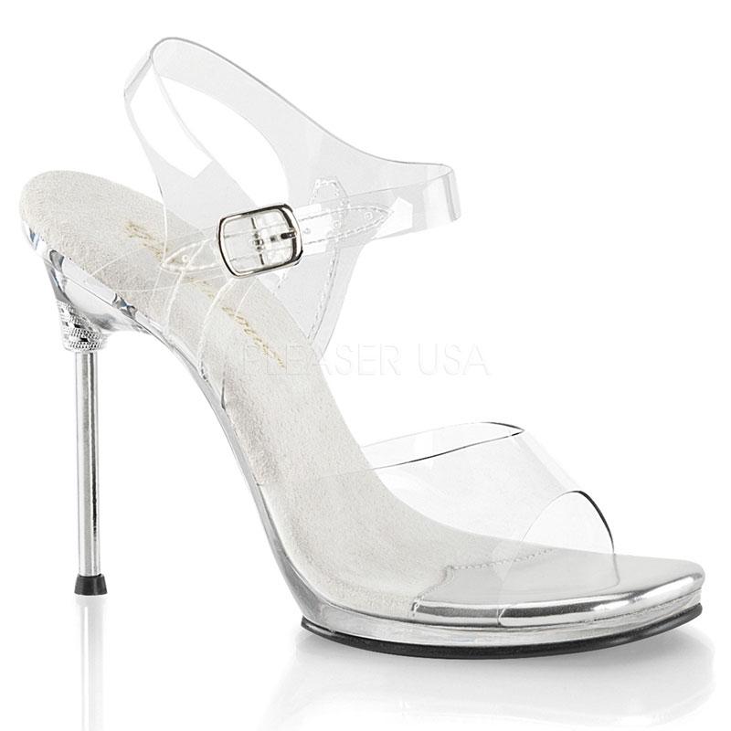 Sandales transparentes talon métal - Pointure : 39