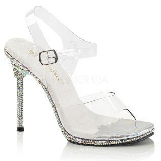 Sandales transparentes à strass