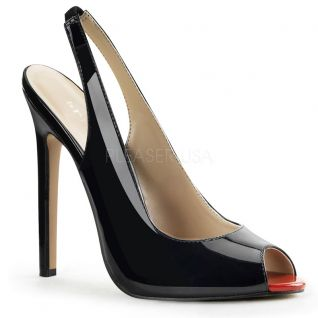 Nu-pieds noirs vernis talon fin