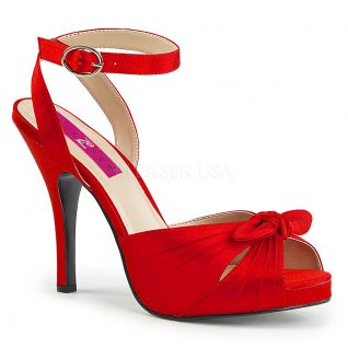 Sandales satin rouge eve-01