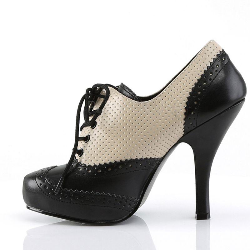 Chaussure pin up de type escarpin richelieu noir et blanc à