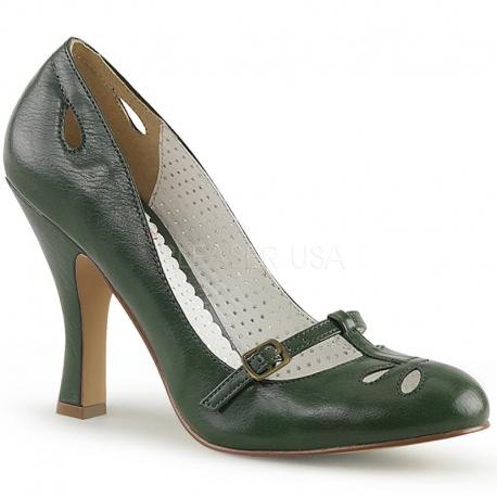 Escarpins talon bobine vert look rétro ou vintage
