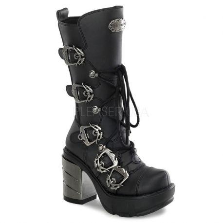 lacet Bottes noires talon gothiques à large chromé 8OPk0nwX