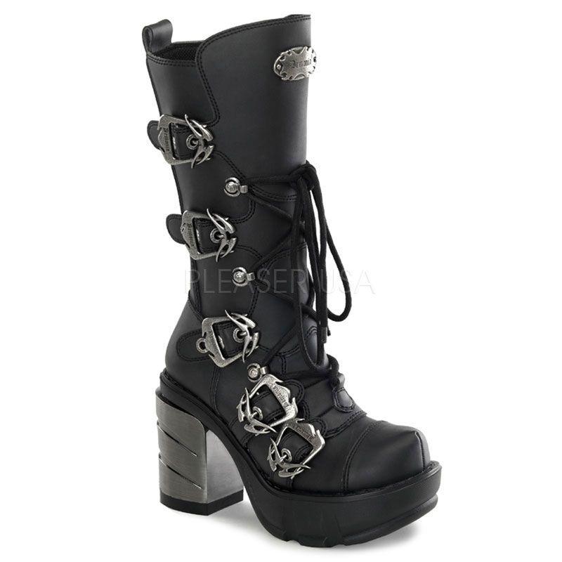 Extrêmement Chaussure gothique féminine bottes noires à lacet OF89
