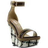 Sandales compensées cuir noir et beige