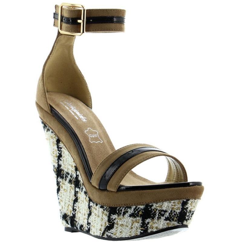 Sandales compensées cuir noir et beige - Pointure : 36