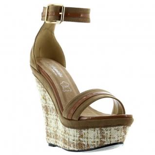 Chaussures compensées cuir marron