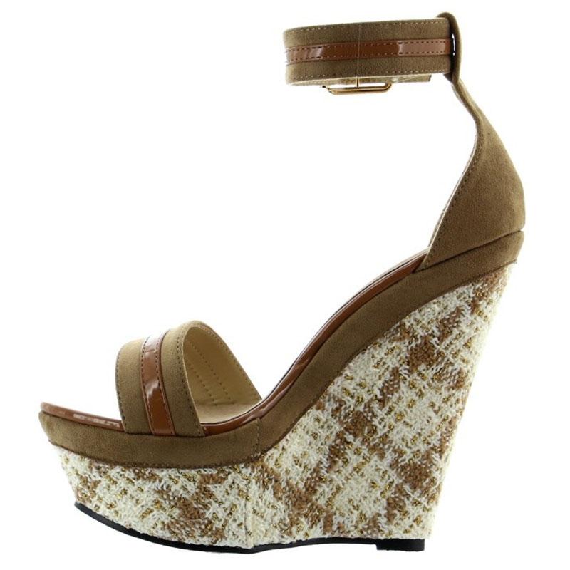 acheter des chaussures compens es en cuir marron. Black Bedroom Furniture Sets. Home Design Ideas