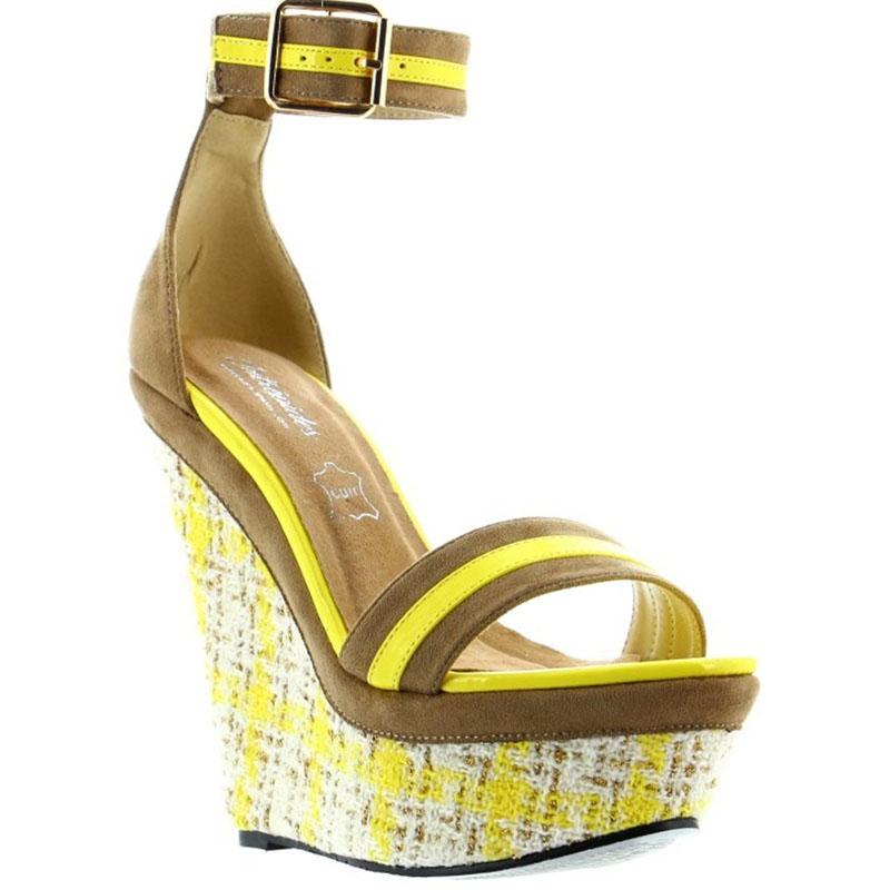 Nu-pieds compensés cuir marron et jaune - Pointure : 39