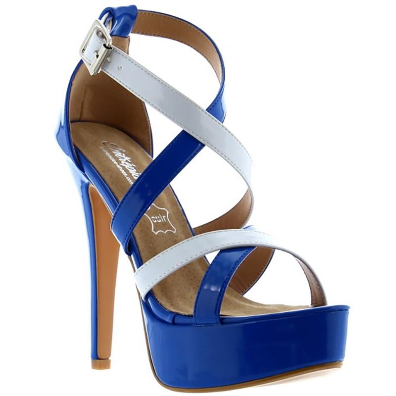 Nu-pied coloris bleu et blanc - Pointure : 37