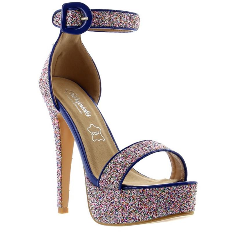 Nu-pieds paillettes bleues - Pointure : 39