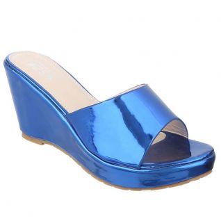 Mules compensées coloris bleu