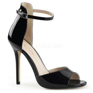Sandales noires vernies à lanière amuse-14