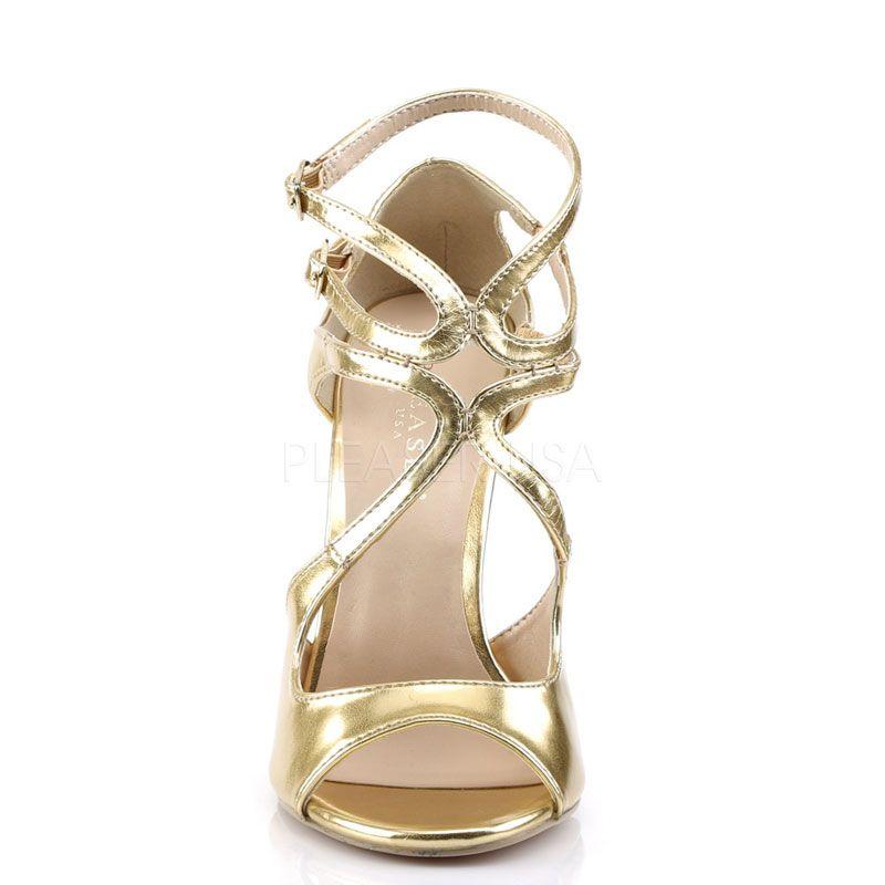 8b51cbcc0eddc6 ... Sandales dorées grande taille; Nu-pieds talon dorés ...