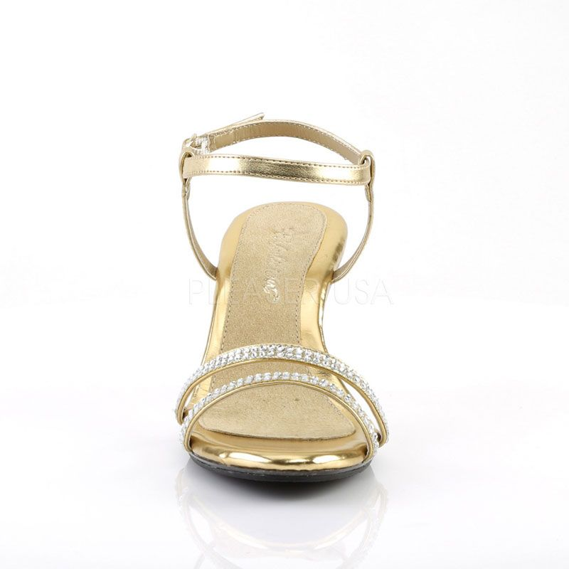 e29e821719e7e Sandales dorées à brides petit talon grande taille