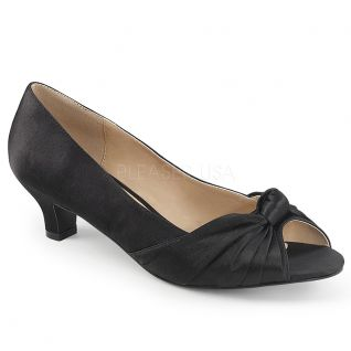 Escarpins Peep Toe satin noir fab-422