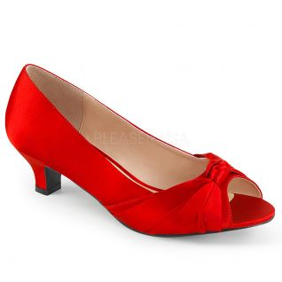 Escarpins satin rouge fab-422
