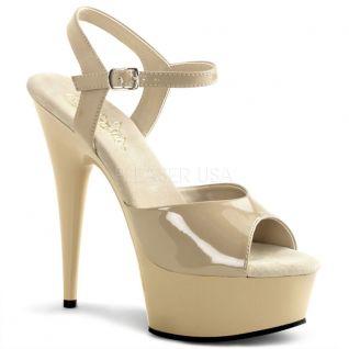 Chaussures nu pieds talon plateforme caramel vernis DELIGHT-609