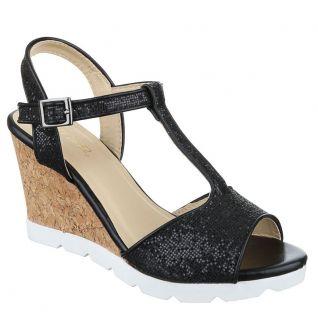 Sandales noires paillettes talon compensé