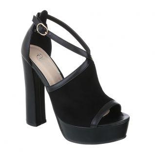 Sandales noires asymétriques