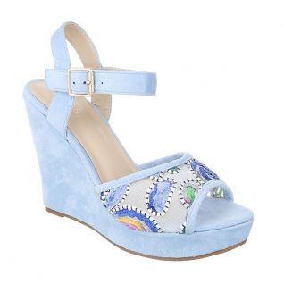 Sandales compensée bleu ciel