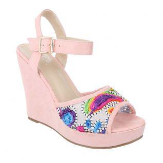 Sandale compensée rose
