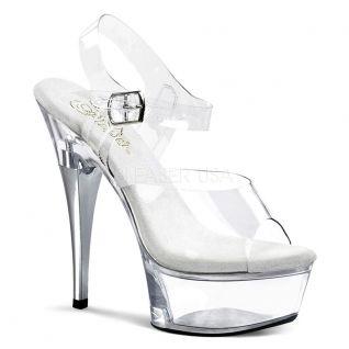 Nu-pieds à brides transparents talon haut plateforme captiva-608