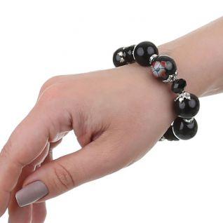 Bracelet perles rondes noires