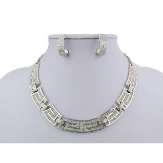 Parure bijoux argentée