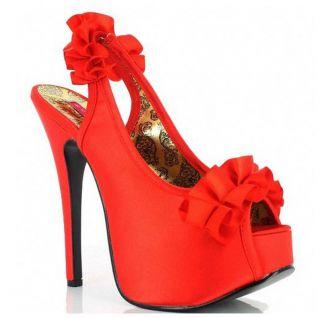 Sandales en satin coloris rouge talon haut plateforme teeze-56