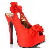 Sandales habillées satin rouge