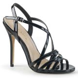 Sandales à brides noires vernies