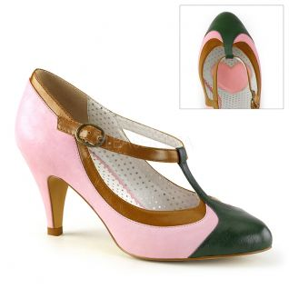 Escarpins pin-up rose et vert petit talon
