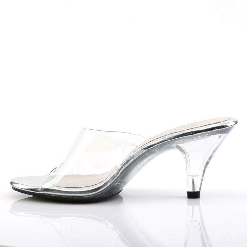 Chaussures transparentes mules féminines petit talon belle,301t; Mules transparentes  petit talon