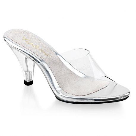 Chaussures transparentes mules féminines petit talon belle-301t