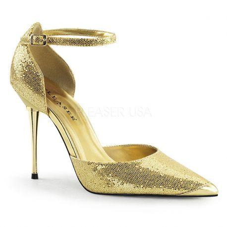 a114c98f52c5 Chaussures à paillettes dorées escarpins talon fin