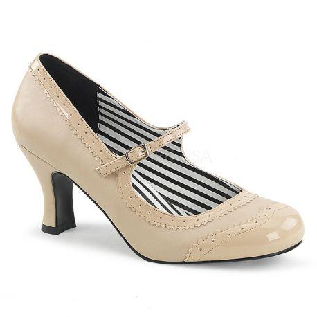 Chaussure rétro à bride escarpin nude talon bobine