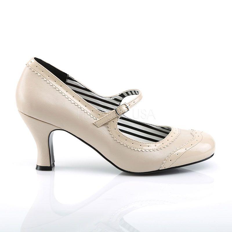 Chaussure rétro à bride escarpin nude talon bobine e243cb898b19