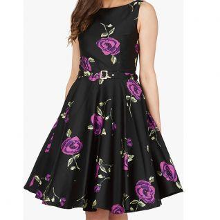 Robe imprimée vintage coloris noire et rose