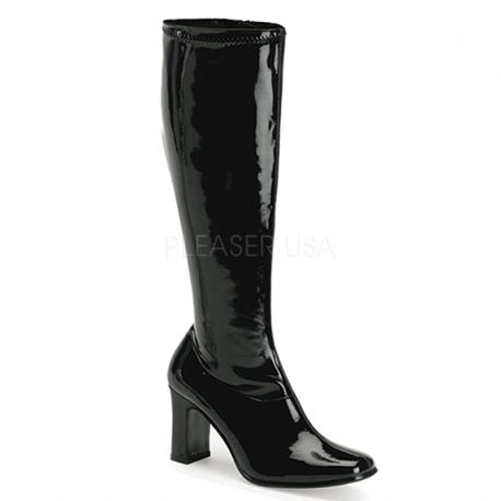 Botte mode brillante chaussure noire vernie talon 0d99b46da21e