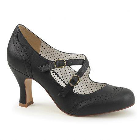 Chaussures vintages noires escarpins talon bobine
