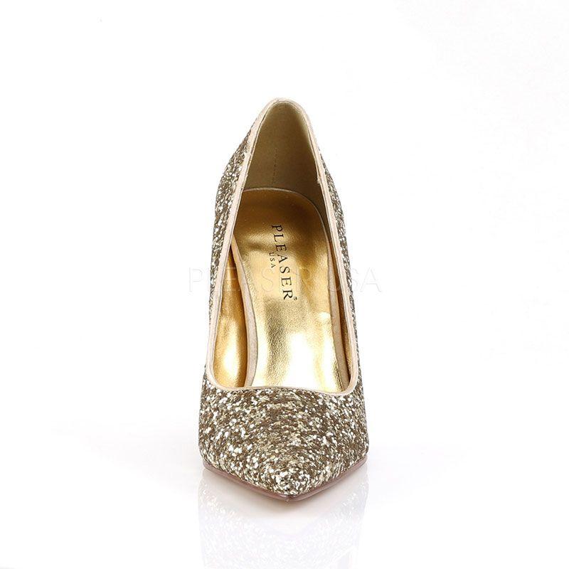 nouveaux styles 5cd47 dbbb2 Chaussures glitter dorés talon aiguille hyper chic