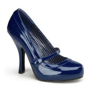 Escarpin style Pinup coloris bleu talon entonnoir