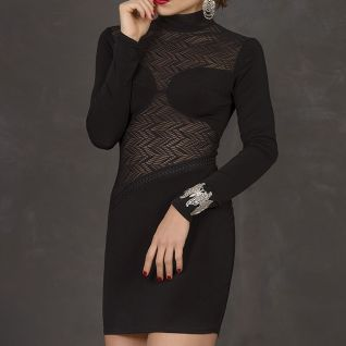 Robe libertine noire manches longues