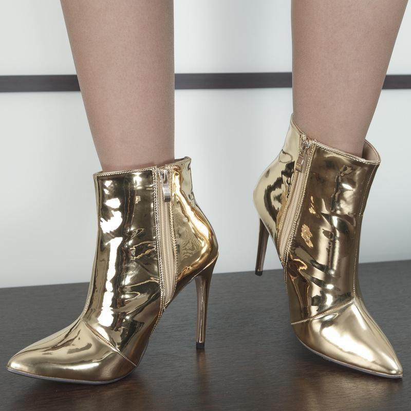 chaussure effet miroir bottine dor e talon 11 cm. Black Bedroom Furniture Sets. Home Design Ideas