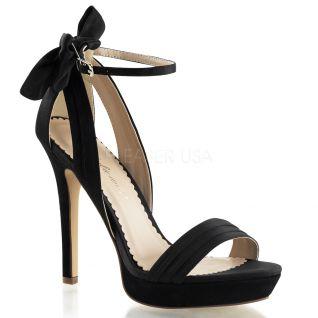 Sandales en satin noir talon haut