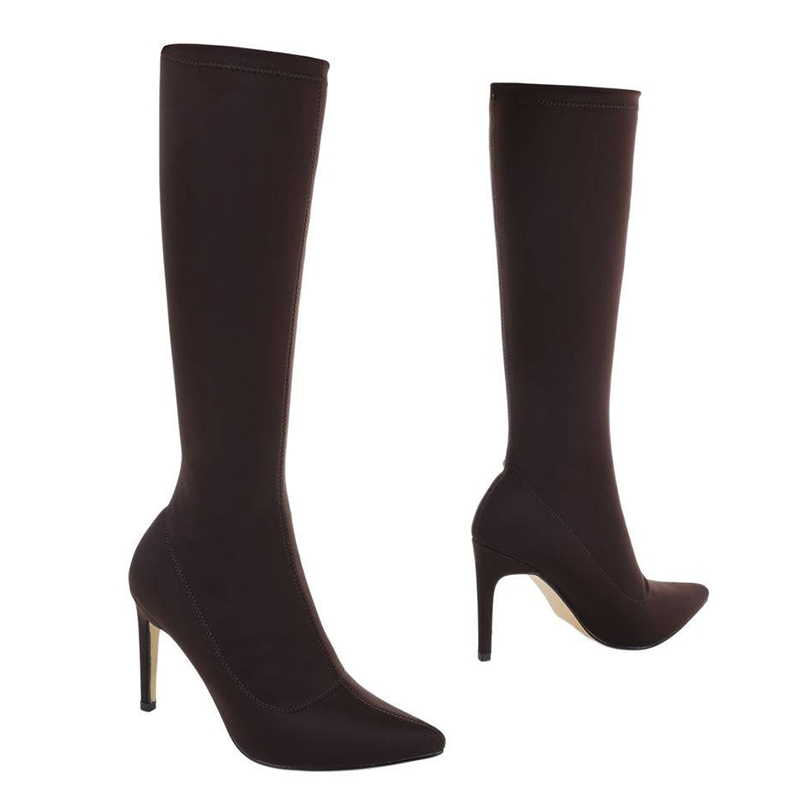 Bottes chaussettes coloris marron; botte moulante marron pas chère; botte  marron talon fin petit prix
