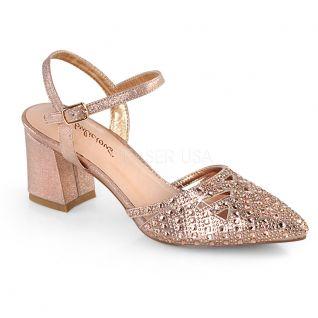 Sandale dorée talon large